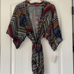 Josie by Natori tribal shirt kimono robe NWT sz S
